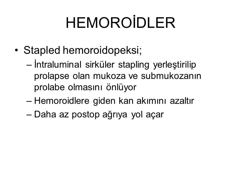 HEMOROİDLER Stapled hemoroidopeksi; –İntraluminal sirküler stapling yerleştirilip prolapse olan mukoza ve submukozanın prolabe olmasını önlüyor –Hemor