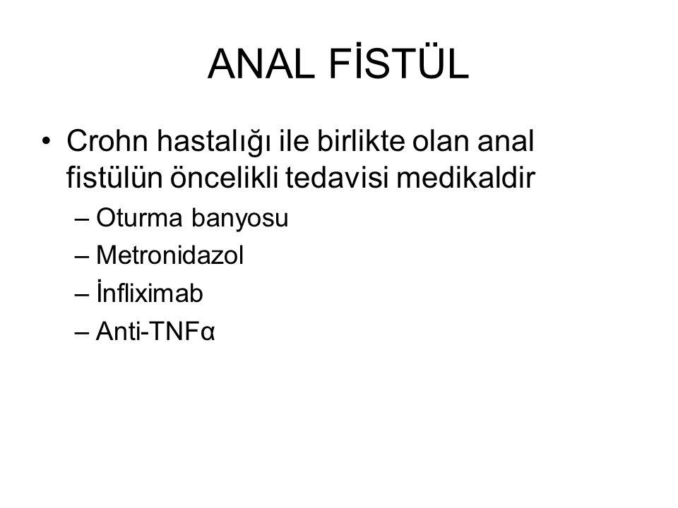 ANAL FİSTÜL Crohn hastalığı ile birlikte olan anal fistülün öncelikli tedavisi medikaldir –Oturma banyosu –Metronidazol –İnfliximab –Anti-TNFα