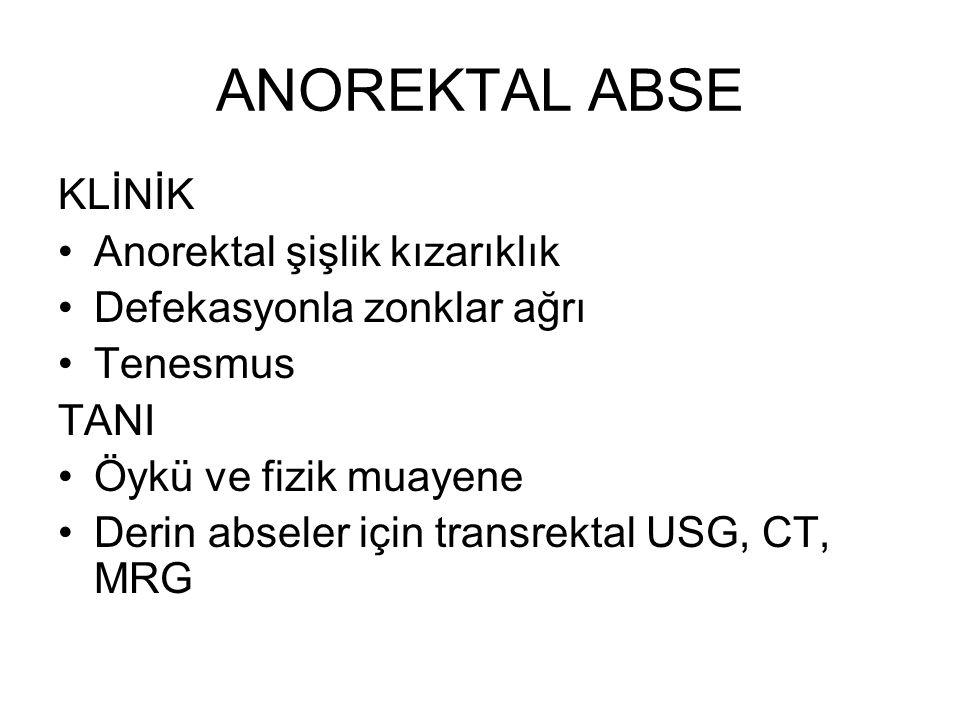 ANOREKTAL ABSE KLİNİK Anorektal şişlik kızarıklık Defekasyonla zonklar ağrı Tenesmus TANI Öykü ve fizik muayene Derin abseler için transrektal USG, CT