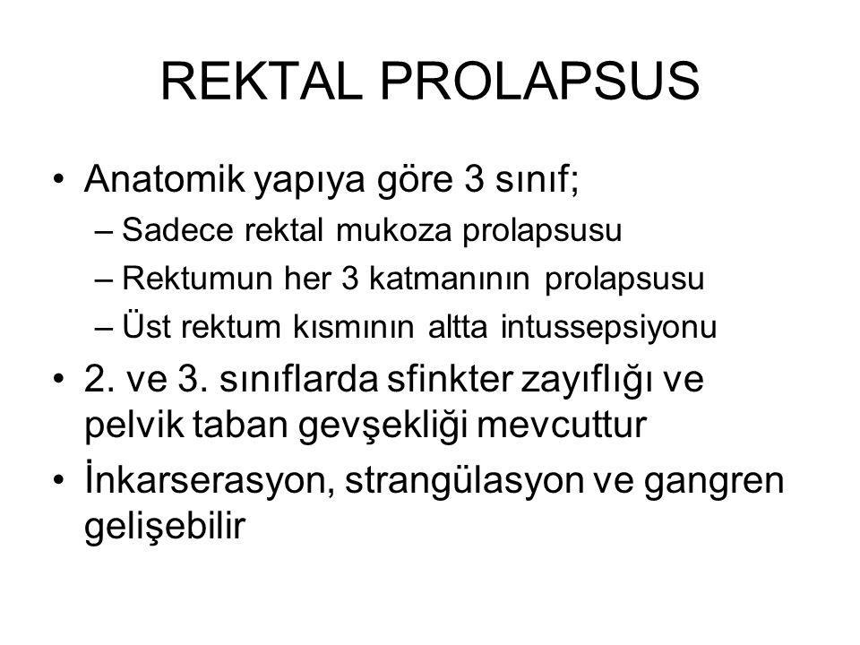 REKTAL PROLAPSUS Anatomik yapıya göre 3 sınıf; –Sadece rektal mukoza prolapsusu –Rektumun her 3 katmanının prolapsusu –Üst rektum kısmının altta intus