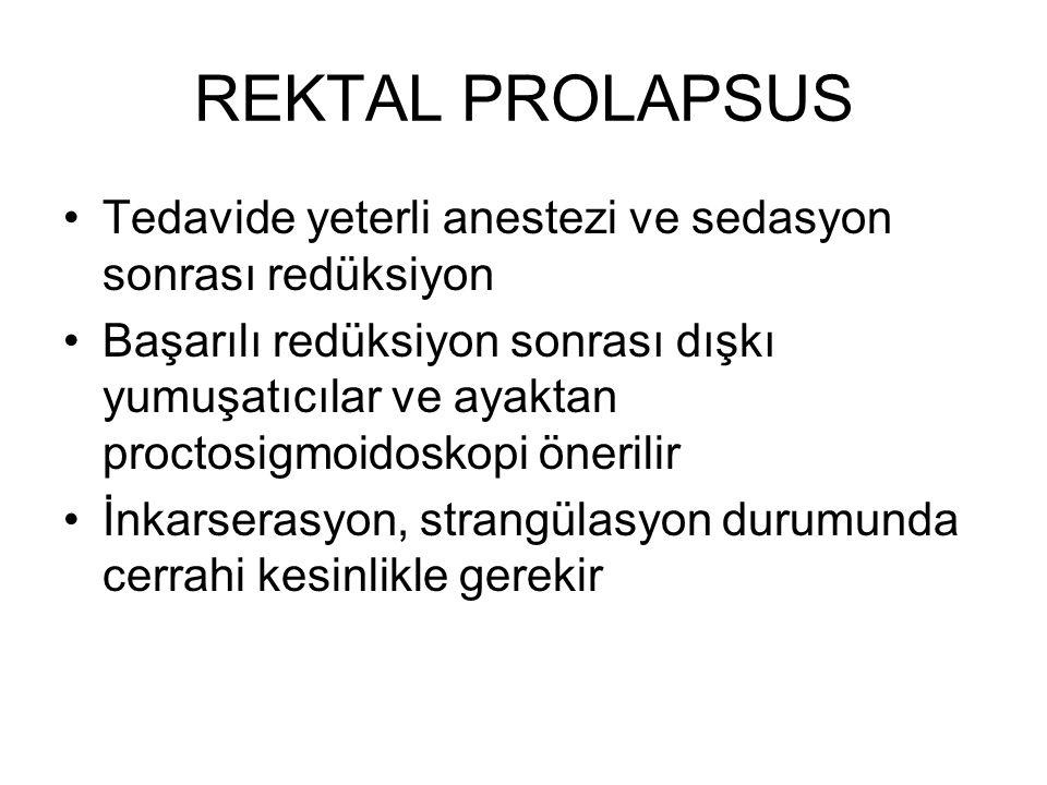 REKTAL PROLAPSUS Tedavide yeterli anestezi ve sedasyon sonrası redüksiyon Başarılı redüksiyon sonrası dışkı yumuşatıcılar ve ayaktan proctosigmoidosko