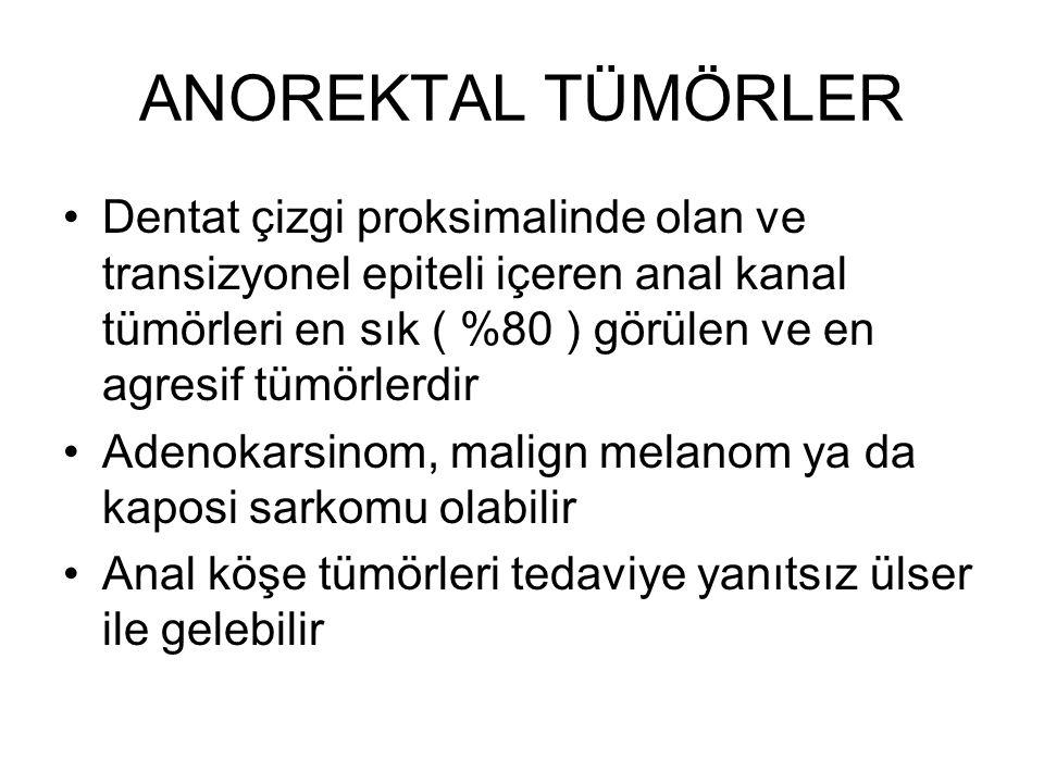 ANOREKTAL TÜMÖRLER Dentat çizgi proksimalinde olan ve transizyonel epiteli içeren anal kanal tümörleri en sık ( %80 ) görülen ve en agresif tümörlerdi