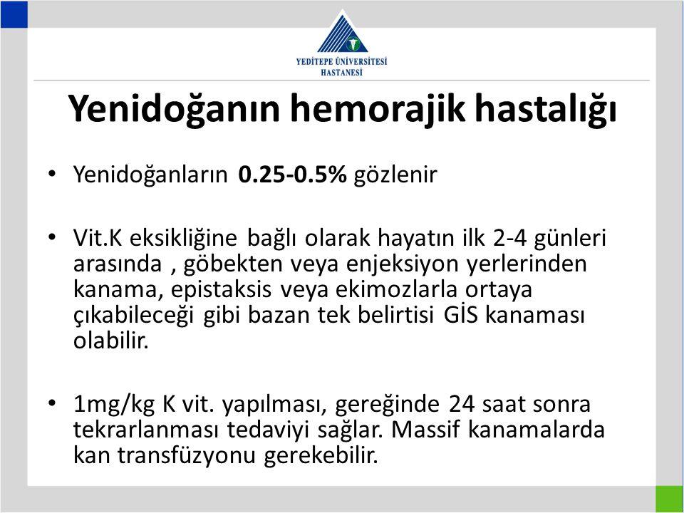 Yenidoğanın hemorajik hastalığı Yenidoğanların 0.25-0.5% gözlenir Vit.K eksikliğine bağlı olarak hayatın ilk 2-4 günleri arasında, göbekten veya enjek