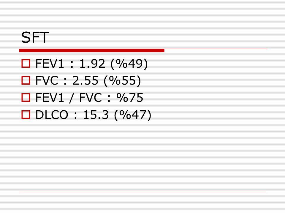SFT  FEV1 : 1.92 (%49)  FVC : 2.55 (%55)  FEV1 / FVC : %75  DLCO : 15.3 (%47)