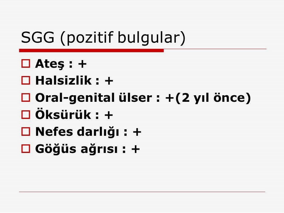 SGG (pozitif bulgular)  Ateş : +  Halsizlik : +  Oral-genital ülser : +(2 yıl önce)  Öksürük : +  Nefes darlığı : +  Göğüs ağrısı : +