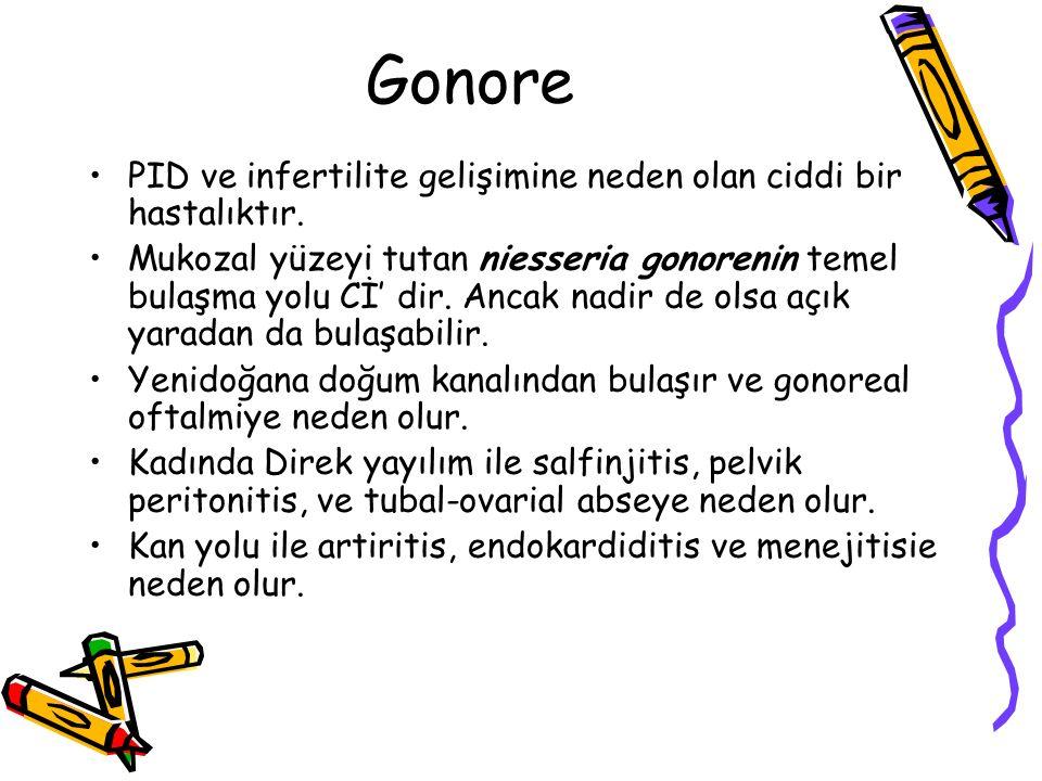 Gonore PID ve infertilite gelişimine neden olan ciddi bir hastalıktır. Mukozal yüzeyi tutan niesseria gonorenin temel bulaşma yolu Cİ' dir. Ancak nadi