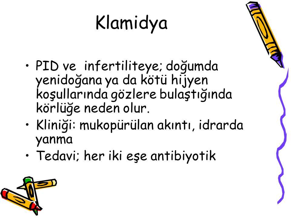 Klamidya PID ve infertiliteye; doğumda yenidoğana ya da kötü hijyen koşullarında gözlere bulaştığında körlüğe neden olur. Kliniği: mukopürülan akıntı,