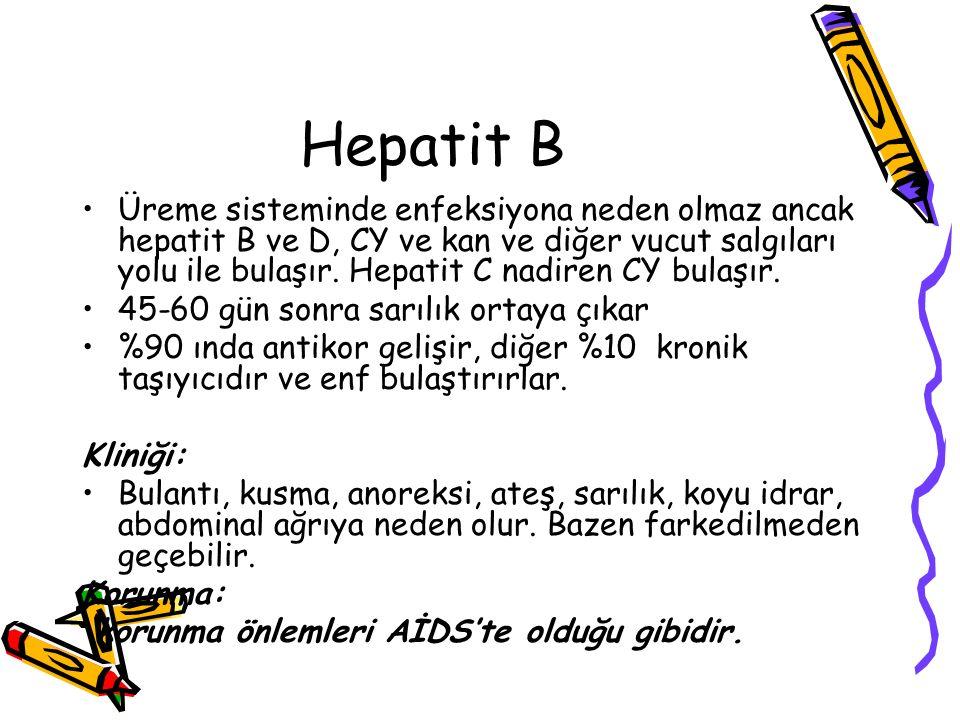 Hepatit B Üreme sisteminde enfeksiyona neden olmaz ancak hepatit B ve D, CY ve kan ve diğer vucut salgıları yolu ile bulaşır. Hepatit C nadiren CY bul