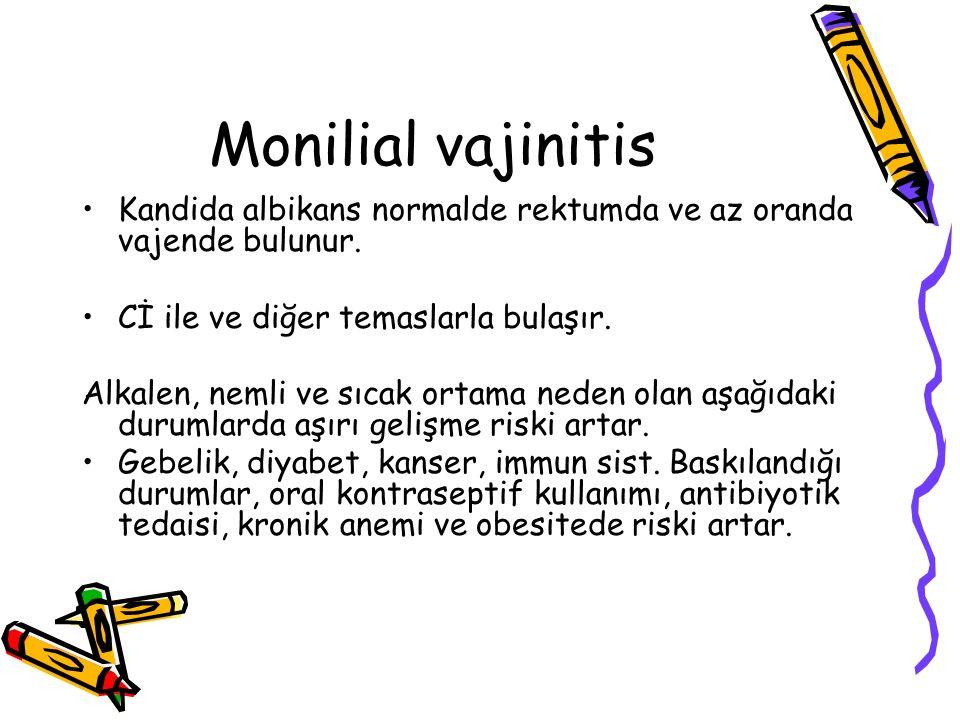 Monilial vajinitis Kandida albikans normalde rektumda ve az oranda vajende bulunur. Cİ ile ve diğer temaslarla bulaşır. Alkalen, nemli ve sıcak ortama