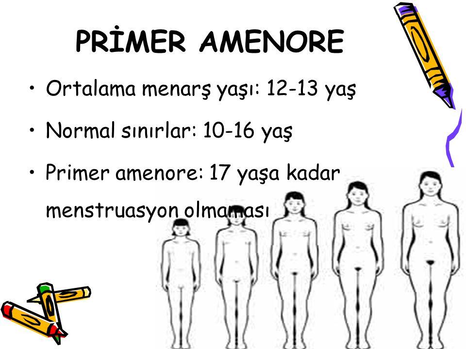 Ortalama menarş yaşı: 12-13 yaş Normal sınırlar: 10-16 yaş Primer amenore: 17 yaşa kadar menstruasyon olmaması PRİMER AMENORE
