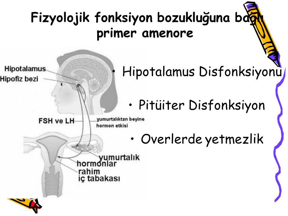 Hipotalamus Disfonksiyonu Pitüiter Disfonksiyon Overlerde yetmezlik Fizyolojik fonksiyon bozukluğuna bağlı primer amenore