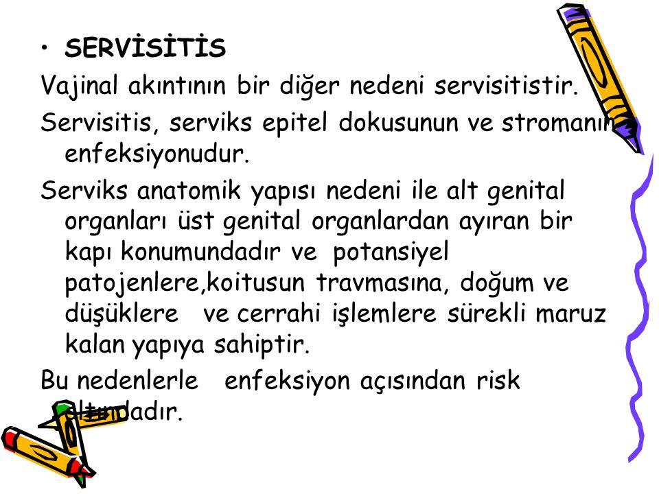 Akut servitis: Alt genital bölge enfeksiyon ajanlarının ( streptekok, Stafilokok, e.