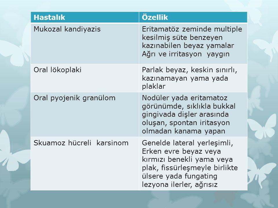 HastalıkÖzellik Mukozal kandiyazisEritamatöz zeminde multiple kesilmiş süte benzeyen kazınabilen beyaz yamalar Ağrı ve irritasyon yaygın Oral lökoplak