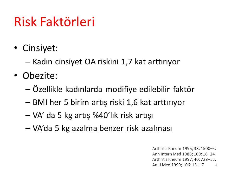 Risk Faktörleri Cinsiyet: – Kadın cinsiyet OA riskini 1,7 kat arttırıyor Obezite: – Özellikle kadınlarda modifiye edilebilir faktör – BMI her 5 birim