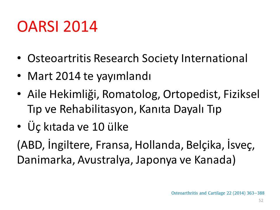 OARSI 2014 Osteoartritis Research Society International Mart 2014 te yayımlandı Aile Hekimliği, Romatolog, Ortopedist, Fiziksel Tıp ve Rehabilitasyon,