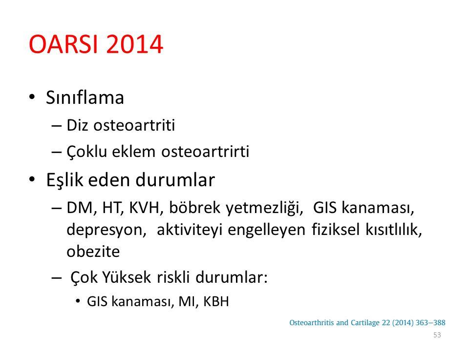 OARSI 2014 Sınıflama – Diz osteoartriti – Çoklu eklem osteoartrirti Eşlik eden durumlar – DM, HT, KVH, böbrek yetmezliği, GIS kanaması, depresyon, akt