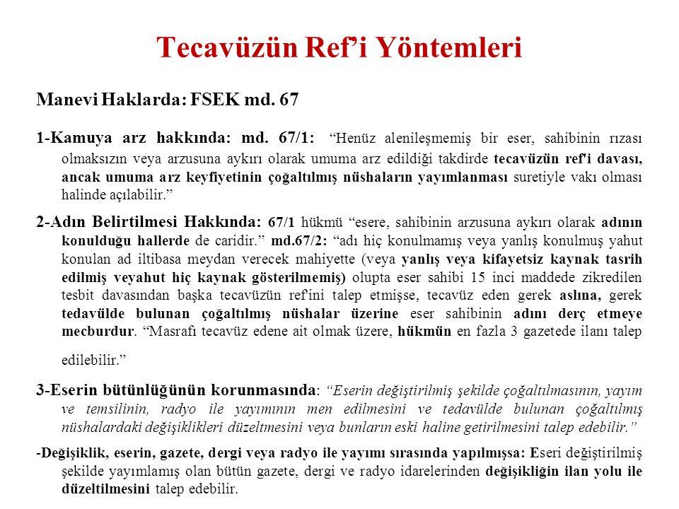 Tecavüzün Ref'i Yöntemleri Manevi Haklarda: FSEK md.