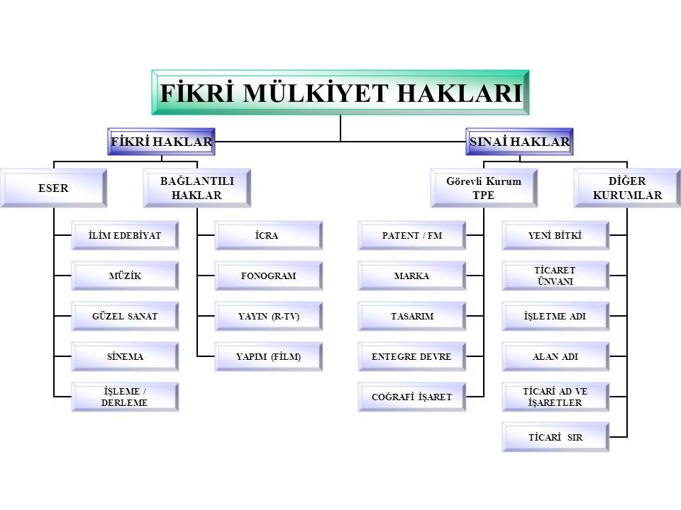 FİKRİ MÜLKİYET HAKLARI FİKRİ HAKLAR ESER İLİM EDEBİYAT MÜZİK GÜZEL SANAT SİNEMA İŞLEME / DERLEME BAĞLANTILI HAKLAR İCRA FONOGRAM YAYIN (R-TV) YAPIM (FİLM) SINAİ HAKLAR Görevli Kurum TPE PATENT / FM MARKA TASARIM ENTEGRE DEVRE COĞRAFİ İŞARET DİĞER KURUMLAR YENİ BİTKİ TİCARET ÜNVANI İŞLETME ADI ALAN ADI TİCARİ AD VE İŞARETLER TİCARİ SIR