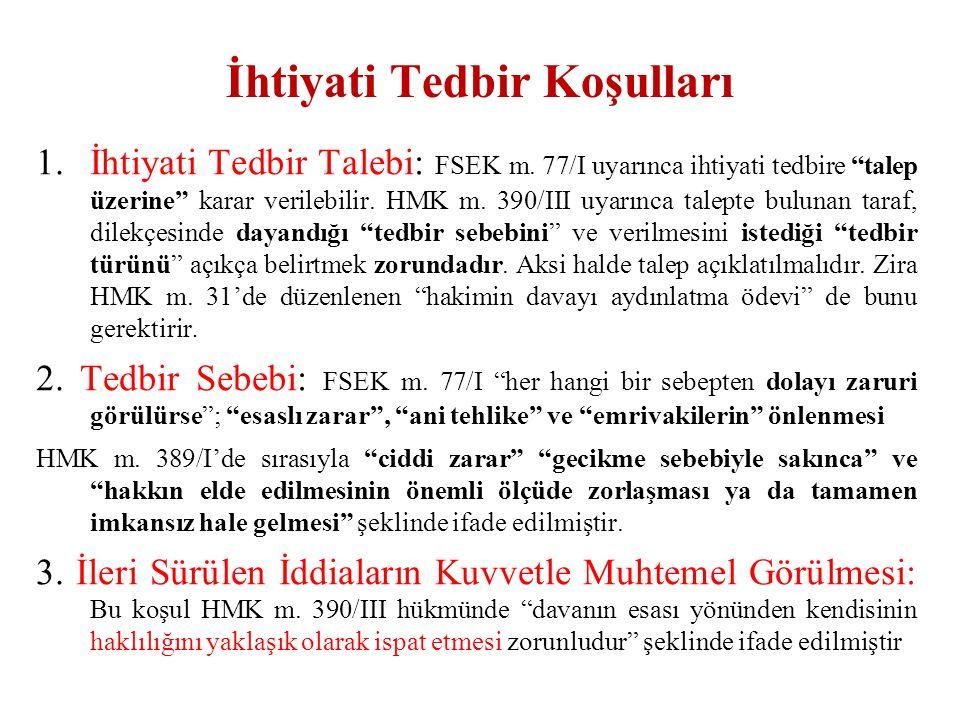 İhtiyati Tedbir Koşulları 1.İhtiyati Tedbir Talebi: FSEK m.