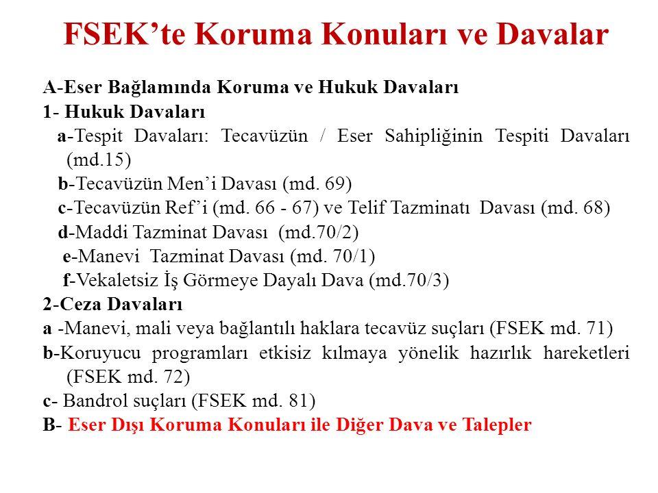 FSEK'te Eser Dışı Koruma Konuları ve Davalar  Haksız Rekabete Dayalı Dava ve Talepler:  FSEK md.