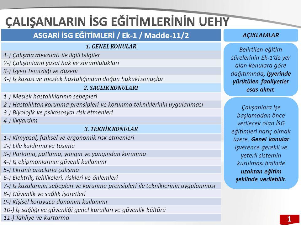 ASGARİ İSG EĞİTİMLERİ / Ek-1 / Madde-11/2 1. GENEL KONULAR 1-) Çalışma mevzuatı ile ilgili bilgiler 2-) Çalışanların yasal hak ve sorumlulukları 3-) İ