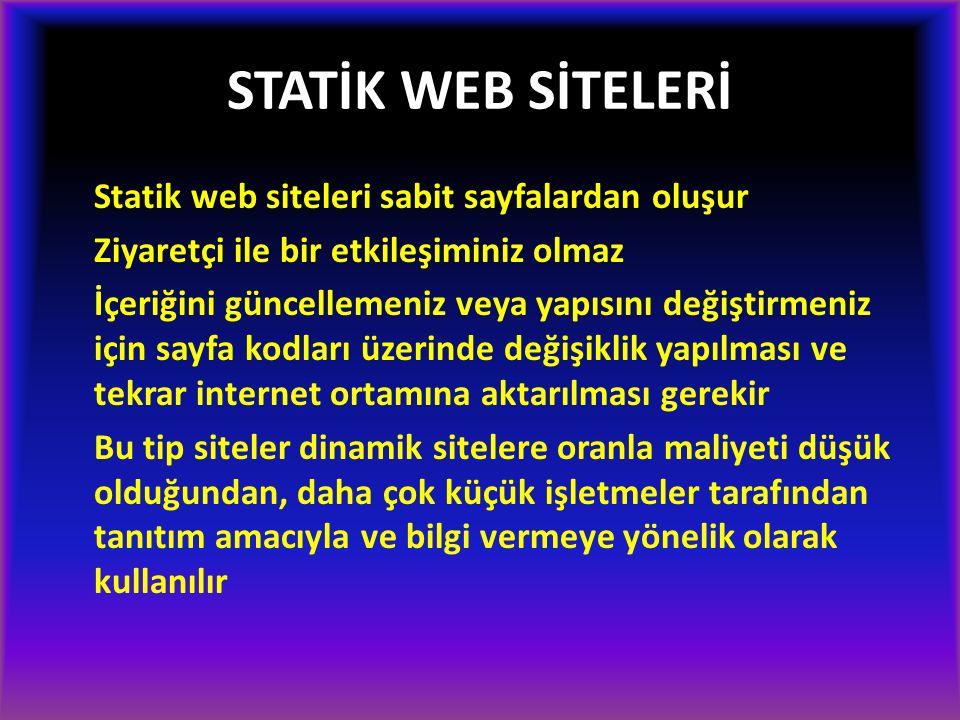 STATİK WEB SİTELERİ Statik web siteleri sabit sayfalardan oluşur Ziyaretçi ile bir etkileşiminiz olmaz İçeriğini güncellemeniz veya yapısını değiştirm
