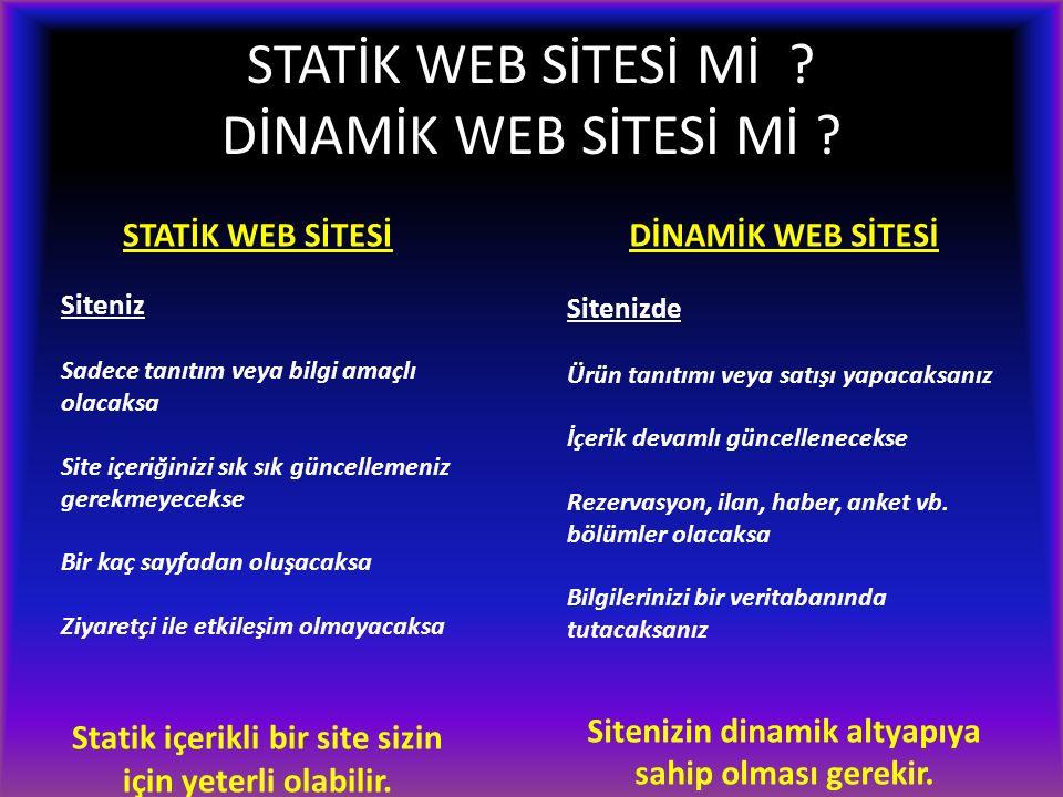 STATİK WEB SİTESİ Mİ ? DİNAMİK WEB SİTESİ Mİ ? STATİK WEB SİTESİ Siteniz Sadece tanıtım veya bilgi amaçlı olacaksa Site içeriğinizi sık sık güncelleme