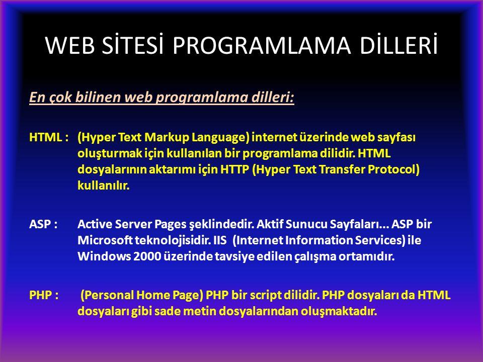 WEB SİTESİ PROGRAMLAMA DİLLERİ En çok bilinen web programlama dilleri: HTML : (Hyper Text Markup Language) internet üzerinde web sayfası oluşturmak için kullanılan bir programlama dilidir.