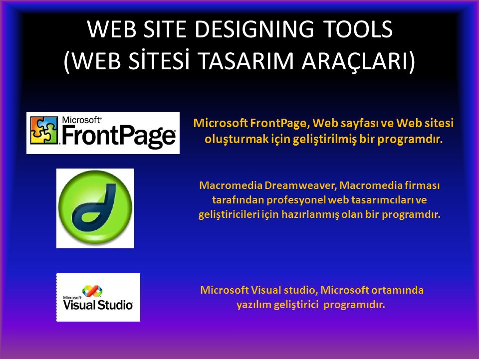 WEB SITE DESIGNING TOOLS (WEB SİTESİ TASARIM ARAÇLARI) Microsoft FrontPage, Web sayfası ve Web sitesi oluşturmak için geliştirilmiş bir programdır. Ma