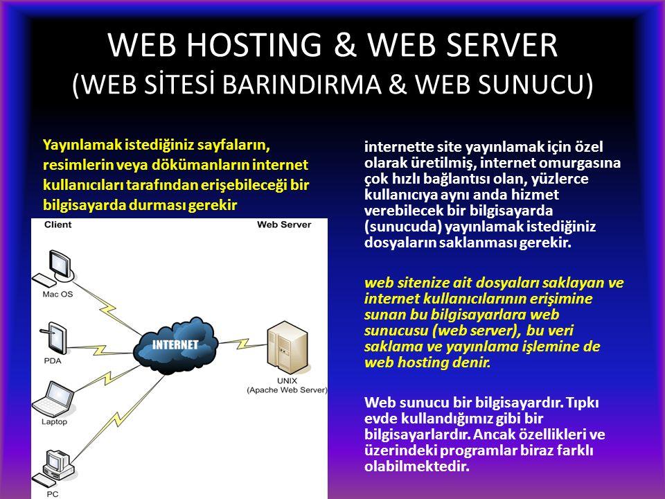 WEB HOSTING & WEB SERVER (WEB SİTESİ BARINDIRMA & WEB SUNUCU) internette site yayınlamak için özel olarak üretilmiş, internet omurgasına çok hızlı bağlantısı olan, yüzlerce kullanıcıya aynı anda hizmet verebilecek bir bilgisayarda (sunucuda) yayınlamak istediğiniz dosyaların saklanması gerekir.