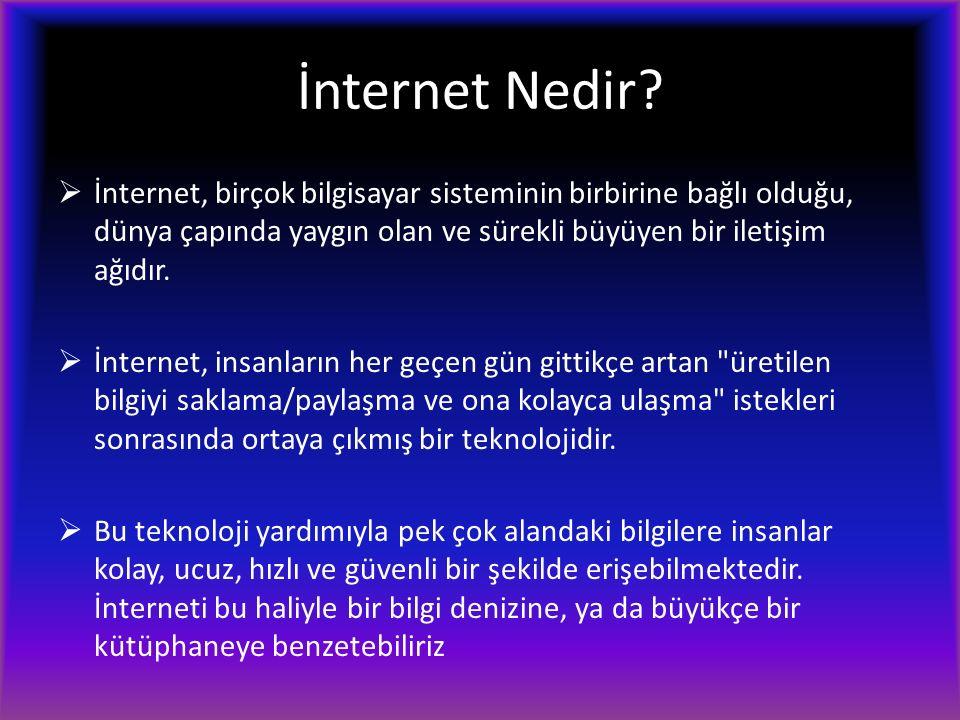 İnternet Nedir?  İnternet, birçok bilgisayar sisteminin birbirine bağlı olduğu, dünya çapında yaygın olan ve sürekli büyüyen bir iletişim ağıdır.  İ