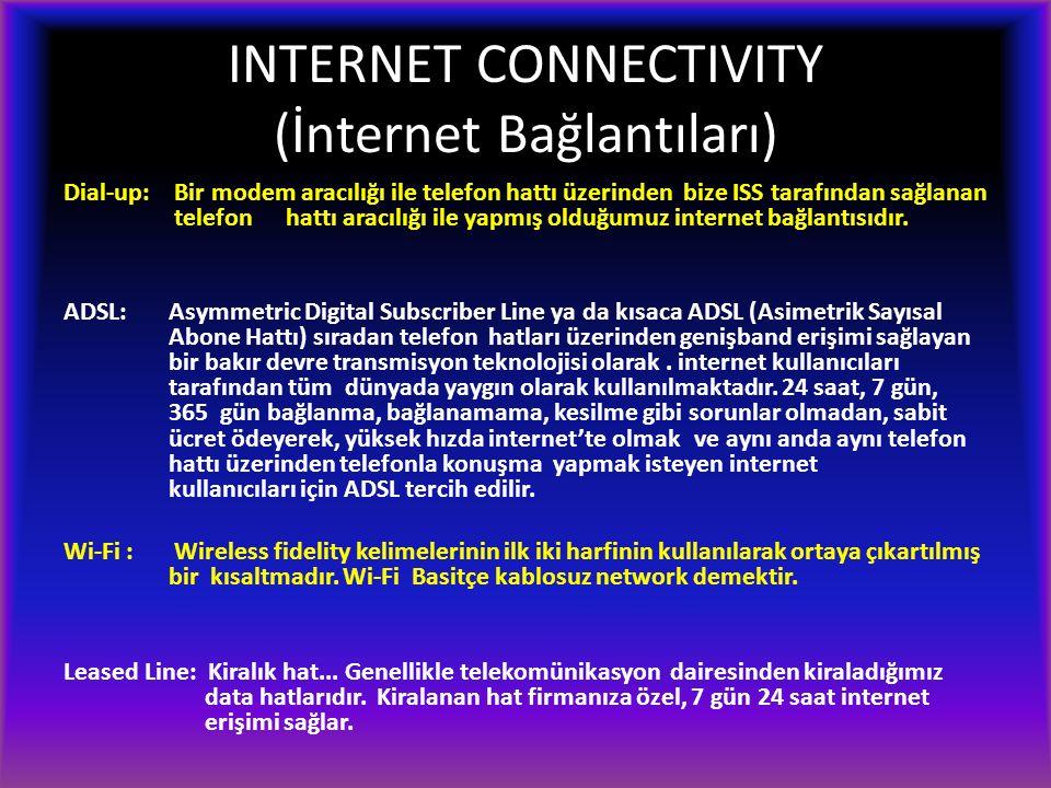INTERNET CONNECTIVITY (İnternet Bağlantıları) Dial-up: Bir modem aracılığı ile telefon hattı üzerinden bize ISS tarafından sağlanan telefon hattı aracılığı ile yapmış olduğumuz internet bağlantısıdır.