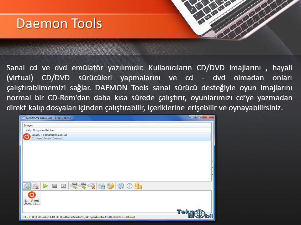 Daemon Tools Sanal cd ve dvd emülatör yazılımıdır.
