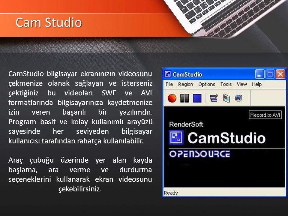 Cam Studio CamStudio bilgisayar ekranınızın videosunu çekmenize olanak sağlayan ve isterseniz çektiğiniz bu videoları SWF ve AVI formatlarında bilgisayarınıza kaydetmenize izin veren başarılı bir yazılımdır.