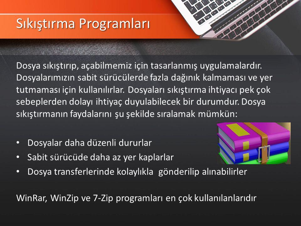 Sıkıştırma Programları Dosya sıkıştırıp, açabilmemiz için tasarlanmış uygulamalardır.