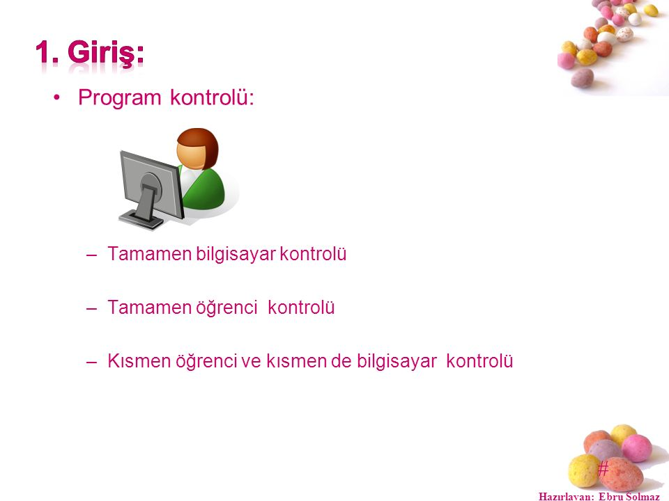 # Program kontrolü: –Tamamen bilgisayar kontrolü –Tamamen öğrenci kontrolü –Kısmen öğrenci ve kısmen de bilgisayar kontrolü Hazırlayan: Ebru Solmaz