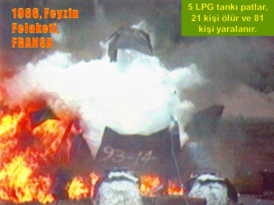 Büyük Patlamalar YILYEROLAYHASAR 1966 Feyzin/Fra nsa LPG patlaması 21 Ölü,81 yaralı 1974 Flixborough /İngiltere Siklo hegzan patlaması 29 Ölü, 100 yaralı 1979 Novosbirsk, Rusya Kimya fabrikasında patlama 300 ölü 1980 Tacoa, Venezüella Petrol yangını ve patlaması 145 ölü 1984 Sao Poulo, Brezilya Petrol boru hattında patlama 508 ölü 1984 1984 St.J.Ixhuate pec, Meksika Gaz tankı patlaması 452 ölü, 4248 yaralı 43