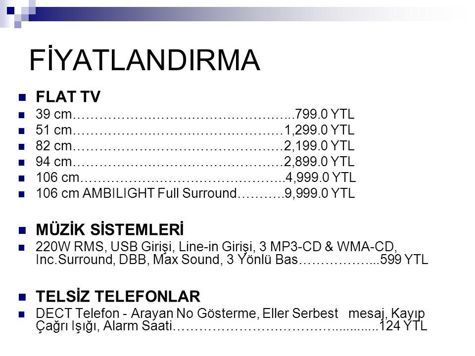 FİYATLANDIRMA FLAT TV 39 cm…………………………………………...799.0 YTL 51 cm…………………………………………1,299.0 YTL 82 cm…………………………………………2,199.0 YTL 94 cm…………………………………………2,899.0 YTL 106 cm………………………………………..4,999.0 YTL 106 cm AMBILIGHT Full Surround………..9,999.0 YTL MÜZİK SİSTEMLERİ 220W RMS, USB Girişi, Line-in Girişi, 3 MP3-CD & WMA-CD, Inc.Surround, DBB, Max Sound, 3 Yönlü Bas……………....599 YTL TELSİZ TELEFONLAR DECT Telefon - Arayan No Gösterme, Eller Serbest mesaj, Kayıp Çağrı Işığı, Alarm Saati……………………………….............124 YTL