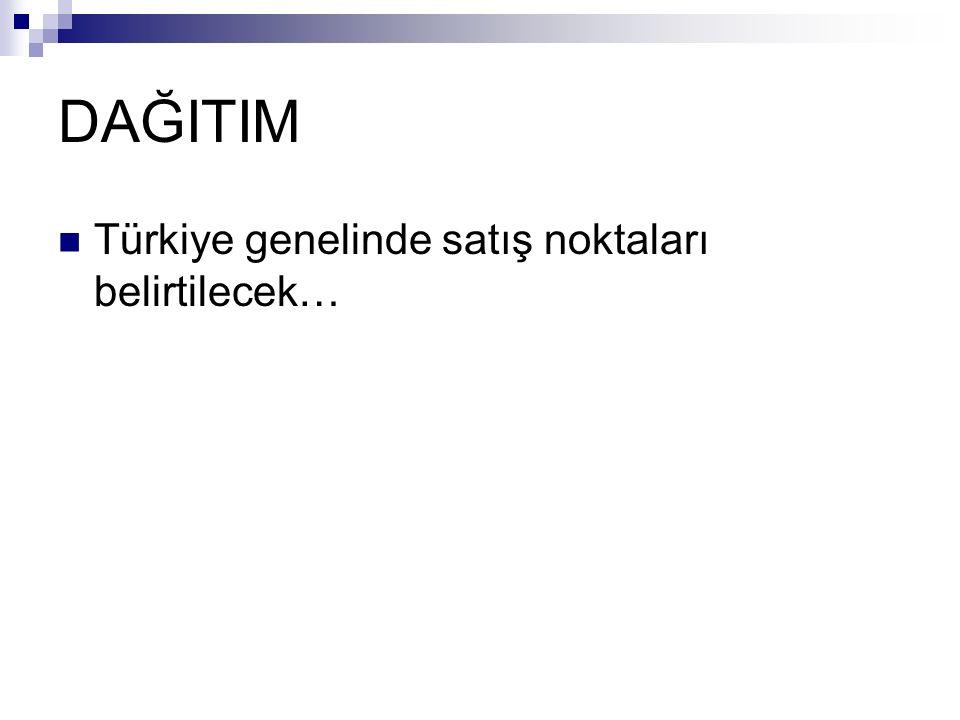 DAĞITIM Türkiye genelinde satış noktaları belirtilecek…