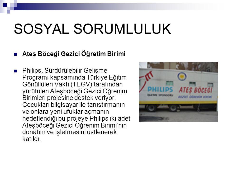 SOSYAL SORUMLULUK Ateş Böceği Gezici Öğretim Birimi Philips, Sürdürülebilir Gelişme Programı kapsamında Türkiye Eğitim Gönüllüleri Vakfı (TEGV) tarafı