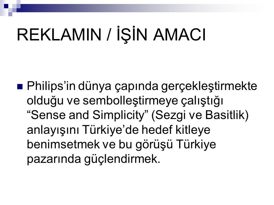 REKLAMIN / İŞİN AMACI Philips'in dünya çapında gerçekleştirmekte olduğu ve sembolleştirmeye çalıştığı Sense and Simplicity (Sezgi ve Basitlik) anlayışını Türkiye'de hedef kitleye benimsetmek ve bu görüşü Türkiye pazarında güçlendirmek.