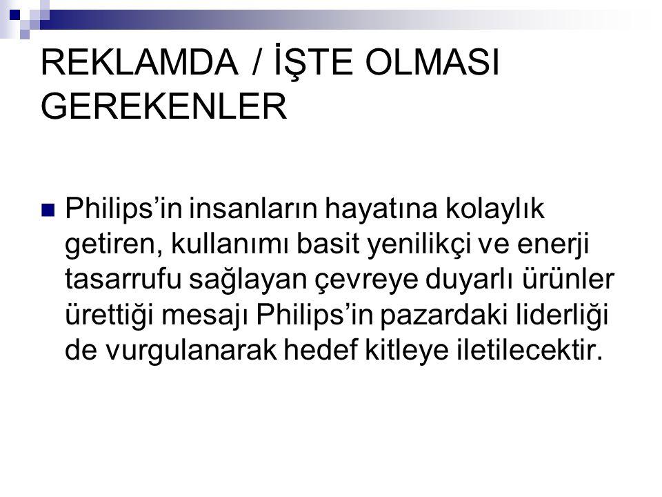 REKLAMDA / İŞTE OLMASI GEREKENLER Philips'in insanların hayatına kolaylık getiren, kullanımı basit yenilikçi ve enerji tasarrufu sağlayan çevreye duya