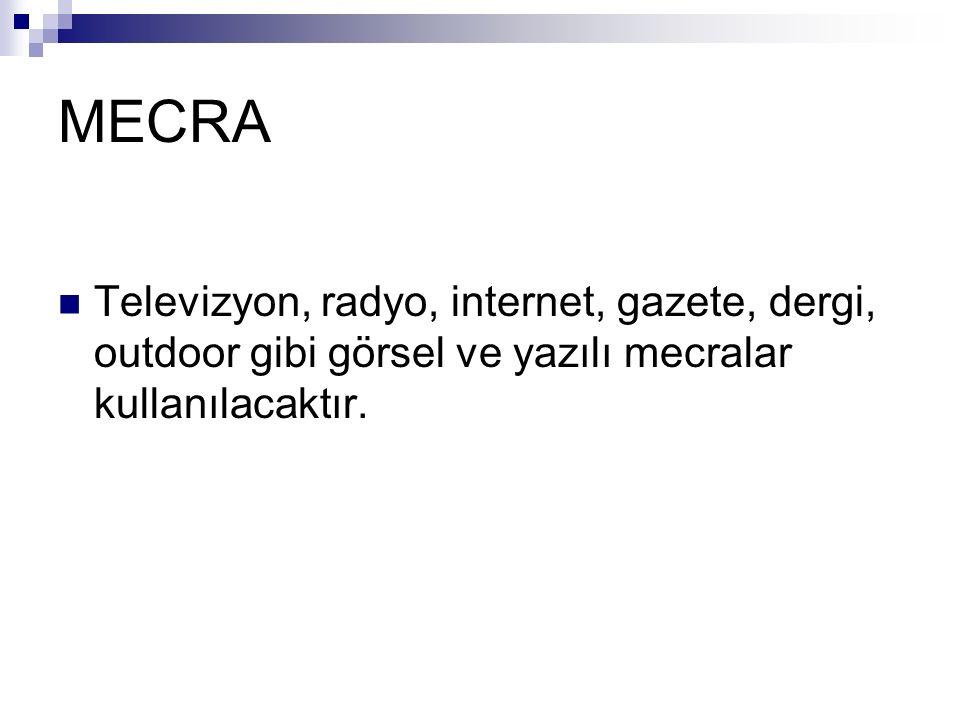 MECRA Televizyon, radyo, internet, gazete, dergi, outdoor gibi görsel ve yazılı mecralar kullanılacaktır.