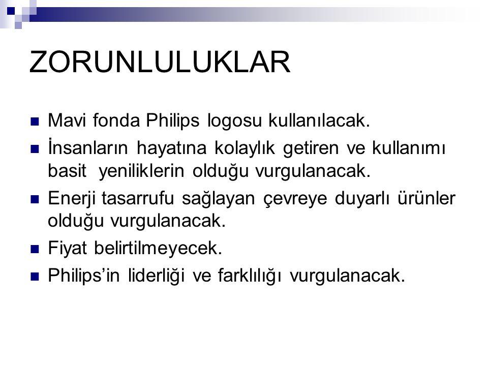 ZORUNLULUKLAR Mavi fonda Philips logosu kullanılacak.