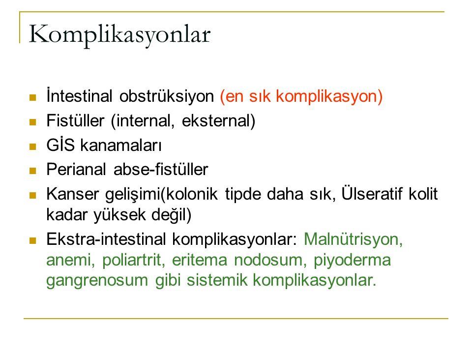 Komplikasyonlar İntestinal obstrüksiyon (en sık komplikasyon) Fistüller (internal, eksternal) GİS kanamaları Perianal abse-fistüller Kanser gelişimi(k