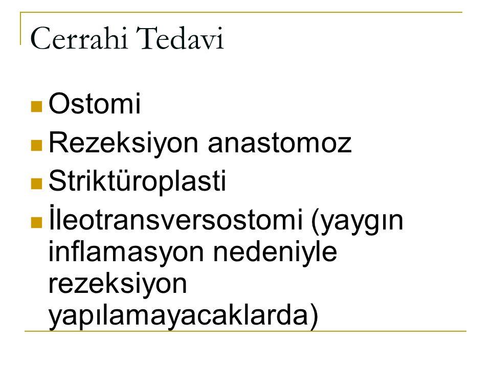 Cerrahi Tedavi Ostomi Rezeksiyon anastomoz Striktüroplasti İleotransversostomi (yaygın inflamasyon nedeniyle rezeksiyon yapılamayacaklarda)