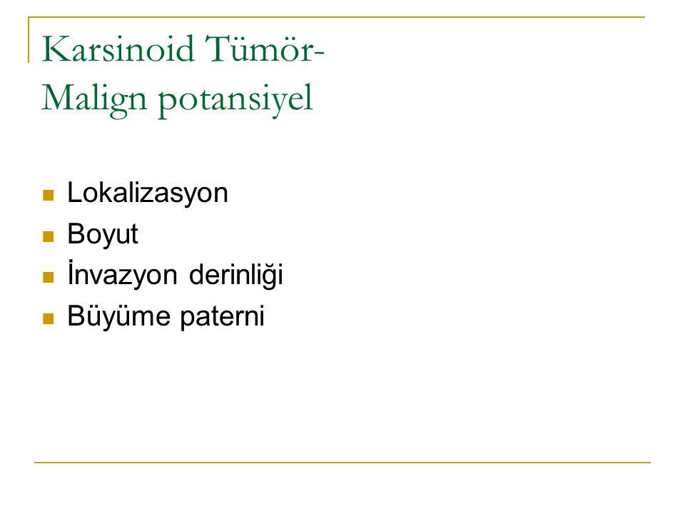 Karsinoid Tümör- Malign potansiyel Lokalizasyon Boyut İnvazyon derinliği Büyüme paterni