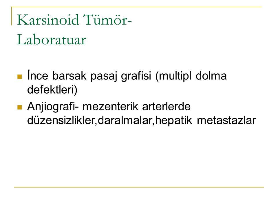 Karsinoid Tümör- Laboratuar İnce barsak pasaj grafisi (multipl dolma defektleri) Anjiografi- mezenterik arterlerde düzensizlikler,daralmalar,hepatik m