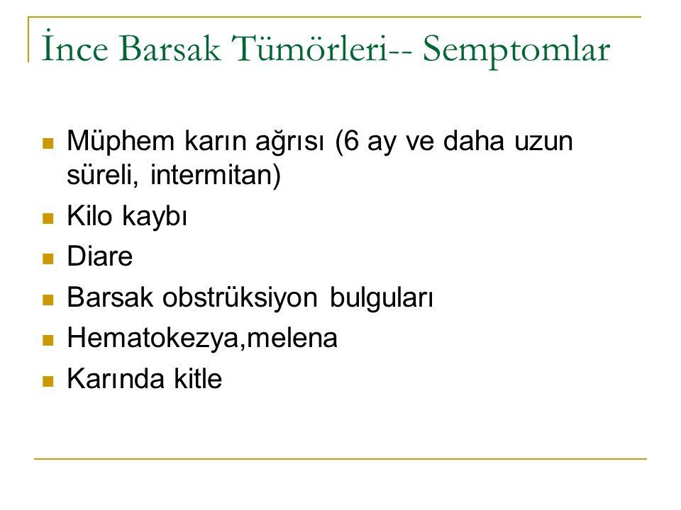 İnce Barsak Tümörleri-- Semptomlar Müphem karın ağrısı (6 ay ve daha uzun süreli, intermitan) Kilo kaybı Diare Barsak obstrüksiyon bulguları Hematokez