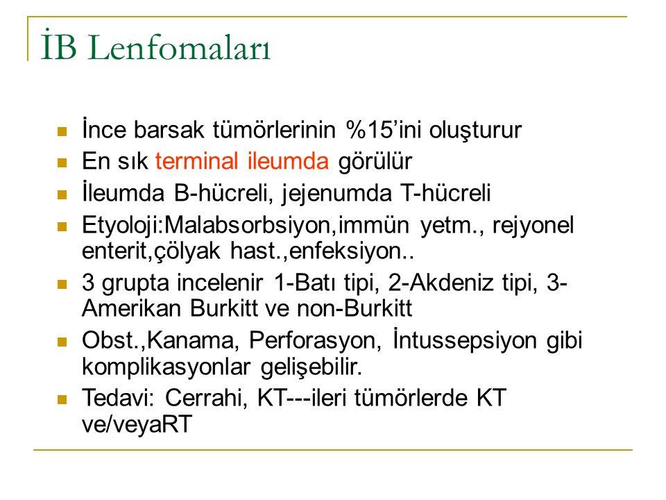 İB Lenfomaları İnce barsak tümörlerinin %15'ini oluşturur En sık terminal ileumda görülür İleumda B-hücreli, jejenumda T-hücreli Etyoloji:Malabsorbsiy